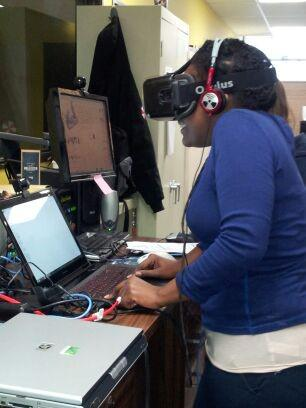 A student tests out Oculus Rift  at Arts Tech KC