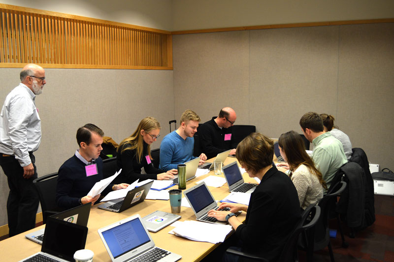 Code for America Brigade and Community Capital Fund volunteers upload data to the CommunityKC mapping tool.
