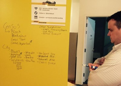 Eric Roche, KCMO Open Data Manager considers the whiteboard at a CFKC hack night